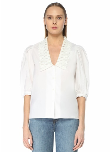 Sandro Sandro  V Yaka Nakışlı Karpuz Kol Gömlek 101627285 Beyaz